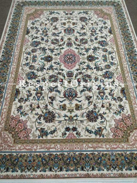 Buy Elegant and luxurious Kashmiri Silk Carpet; 6x9 Feet. Cream base. At RespectOriigns.com