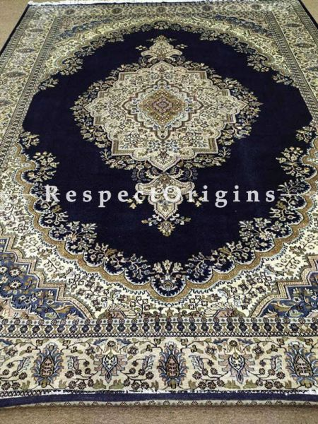Buy Luxurious Handknotted Kashmiri Silk Carpet; 9 x12 Feet. Cream and Black. At RespectOriigns.com