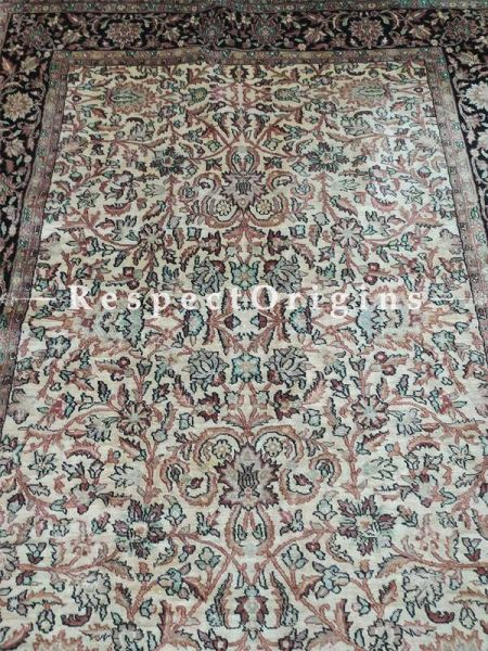 Buy Beautiful Kashmiri Silk Carpet; 6x9 Ft.; Cream base. At RespectOriigns.com
