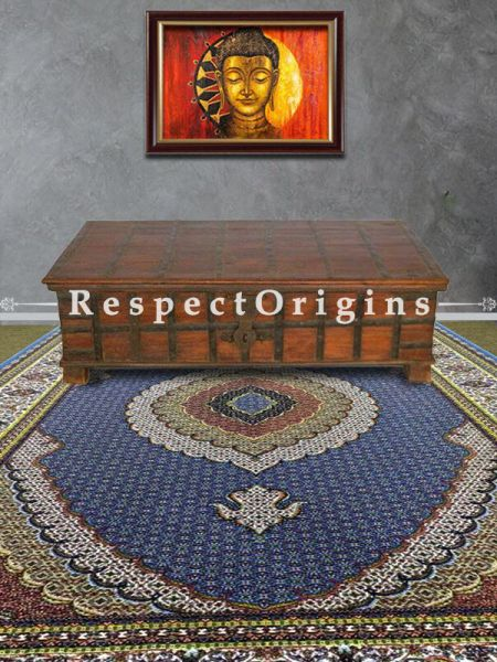 Buy Hand Knotted Silk Carpet in Blue Base; 4x6 Ft At RespectOriigns.com