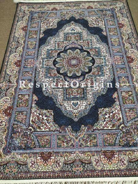 Buy Kashmiri Carpet Hand Knotted in Pure Silk; 5x7 Ft At RespectOriigns.com
