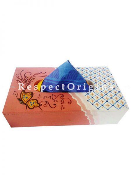Buy Hand-painted Brown Rectangular Tissue Holder or Napkin box; Wood At RespectOrigins.com