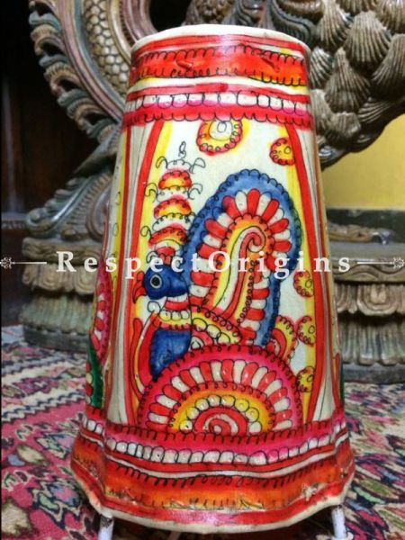 Buy Hand Painted Cylindrical Leather Lampshade; 8 in; Rangoli Design At RespectOrigins.com