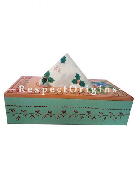 Buy Hand-painted Blue and Beige Rectangular Tissue Holder or Napkin box; Wood At RespectOrigins.com