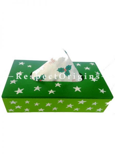 Buy Hand-painted Green Rectangular Tissue Holder or Napkin box; Wood At RespectOrigins.com