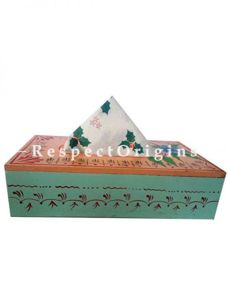 Buy Hand Painted Rectangular Tissue Holder or Napkin Holder in Blue Color, Wood At RespectOrigins.com