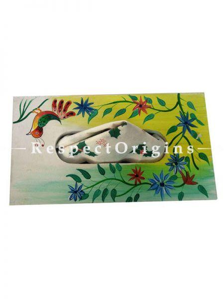Buy Hand-painted White Rectangular Tissue Holder or Napkin box; Wood At RespectOrigins.com