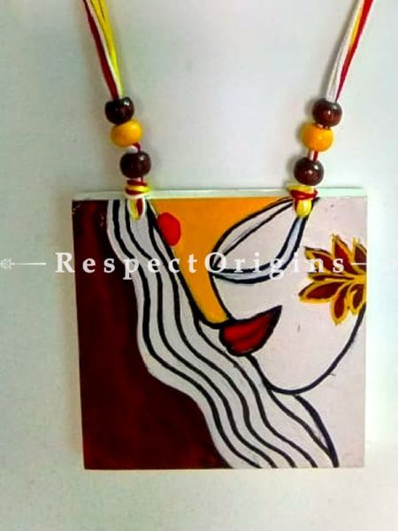 Buy Hand Painted Wooden Jewellery Set With Square Pendant and Matching Earrings at RespectOrigins.com