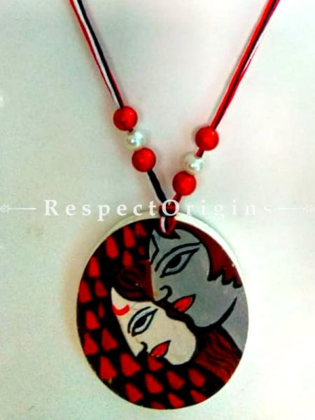 Buy Hand Painted Wooden Jewellery Set With Oval Pendant and Matching Earrings at RespectOrigins.com