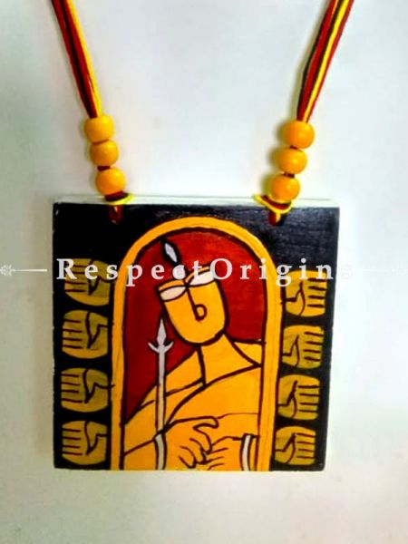 Buy Hand Painted Tribal Wooden Jewellery Set With Square Pendant and Matching Earrings at RespectOrigins.com