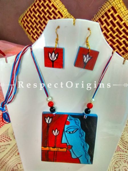 Buy Hand Painted Krishna Wooden Jewellery Set With Square Pendant and Matching Earrings at RespectOrigins.com
