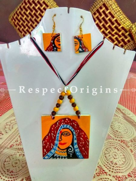 Buy Hand Painted Rajasthani Lady Wooden Jewellery Set With Square Pendant and Matching Earrings at RespectOrigins.com