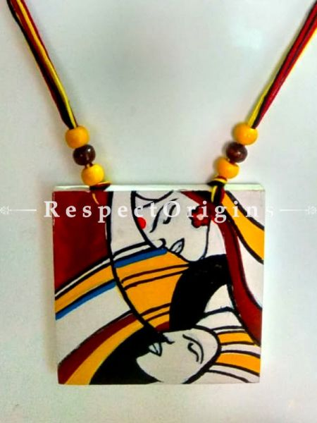 Buy Hand Painted Couple Wooden Jewellery Set With Square Pendant and Matching Earrings at RespectOrigins.com