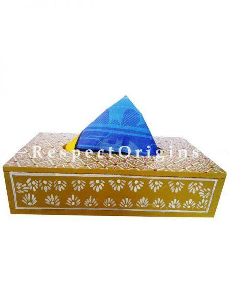 Buy Hand-painted Yellow Rectangular Tissue Holder or Napkin box; Wood At RespectOrigins.com