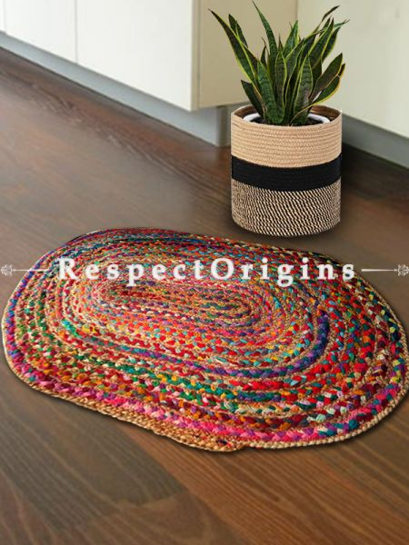 Hand braided Oval Jute floor or Door mats;36 X 24 Inches; RespectOrigins.com