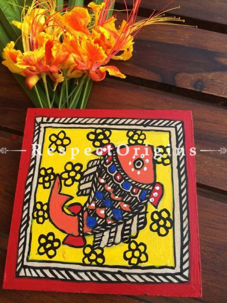 Buy Handcrafted and Hand Painted Madhubani Artwork; Set of 6 Square Coasters; 4x4 in; Wood At RespectOrigins.com