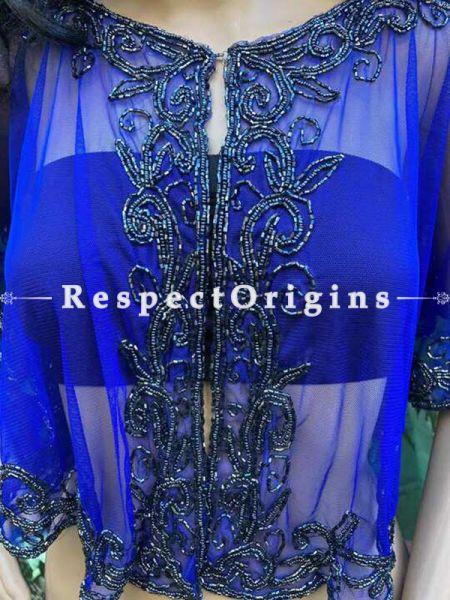 Blue Net Handcrafted Beaded Poncho Cape or Shrug for Evening Gowns or Dresses; RespectOrigins.com