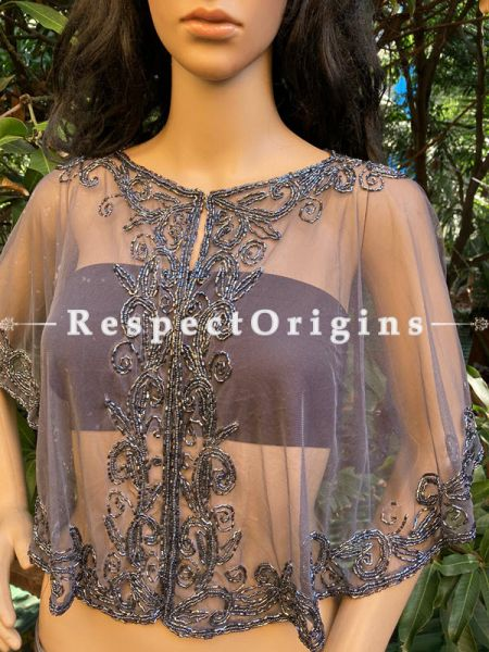 Gray Net Handcrafted Beaded Poncho or Shrug for Evening Gowns or Dresses; RespectOrigins.com