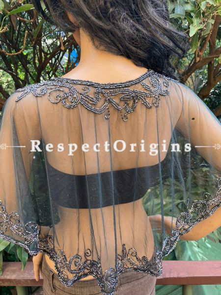 Black Net Handcrafted Black Beaded Poncho Cape or Shrug for Evening Gowns or Dresses; RespectOrigins.com