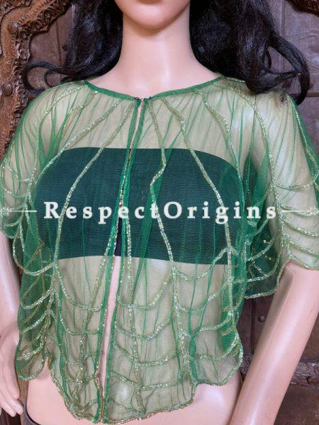 Green Net Handcrafted Beaded Poncho Cape or Shrug for Evening Gowns or Dresses; RespectOrigins.com