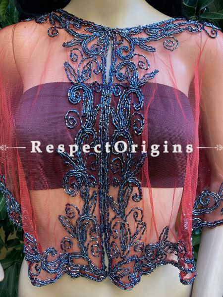 Red Net Handcrafted Beaded Poncho Cape or Shrug for Evening Gowns or Dresses; RespectOrigins.com