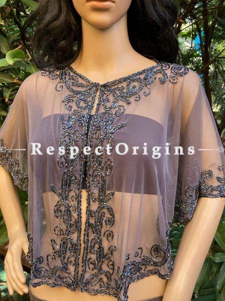 Gray Net Handcrafted Beaded Poncho Cape or Shrug for Evening Gowns or Dresses; RespectOrigins.com