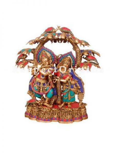 Buy Handcrafted Brass Radha Krishna With Tree Statue At RespectOrigins.com