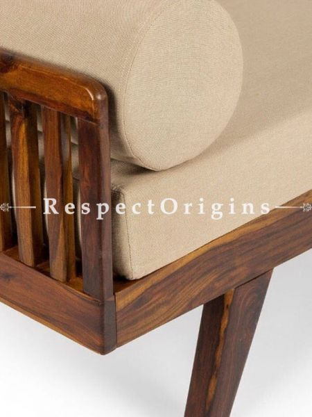 Buy Handcrafted Divan or Side Sofa; Sheesham Wood in Vintage Finish; Beige cushions At RespectOrigins.com