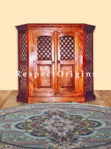 Buy Handcrafted Double Door TV Console on Sheesham Wood in Honey Oak Finish At RespectOrigins.com