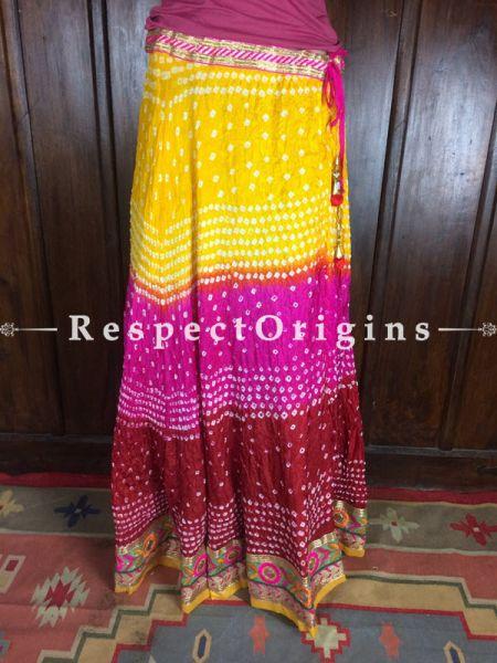 Buy Multicolor Handcrafted Jaipur Bandhani Long Skirt; Silk at RespectOrigins.com