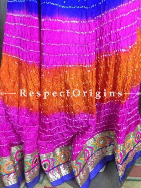 Buy Handcrafted Jaipur Bandhani Long Skirt Silk; Multicolor at RespectOrigins.com