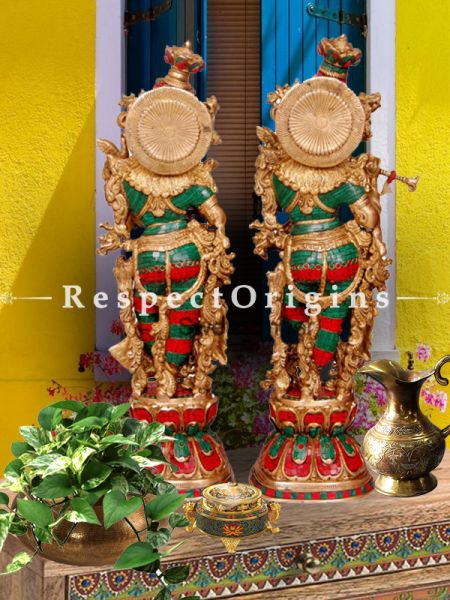 Buy Handcrafted Radha Krishna Statue Brass Turquoise Finish 28 Inches at RespectOrigins.com