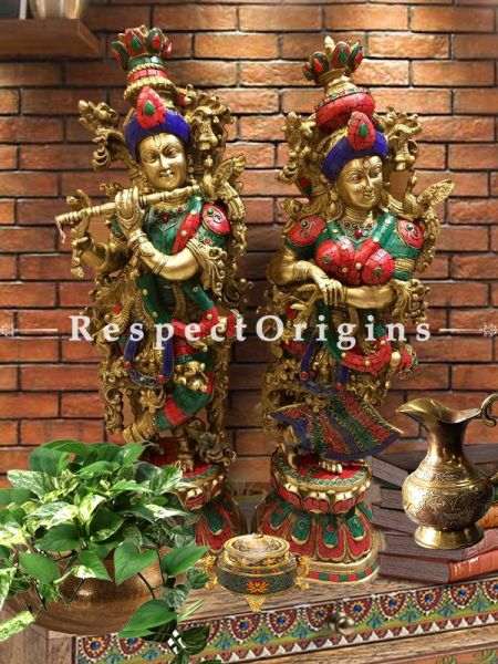 Handcrafted Radha Krishna Brass Statue; Multicolor Turquoise; 29 Inches