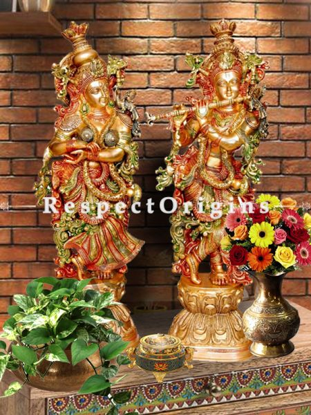 Handcrafted Brass Standing Radha Krishna With Flute Statue;30 Inches