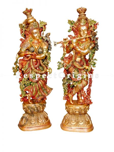 Buy Handcrafted Brass Standing Radha Krishna With Flute Statue30 Inches at RespectOrigins.com