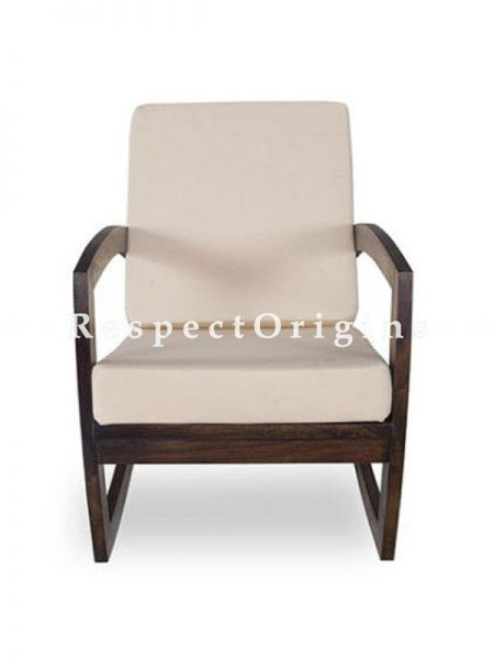 Buy Handcrafted Rocking Chair in Sheesham Wood With White Cushion At RespectOrigins.com