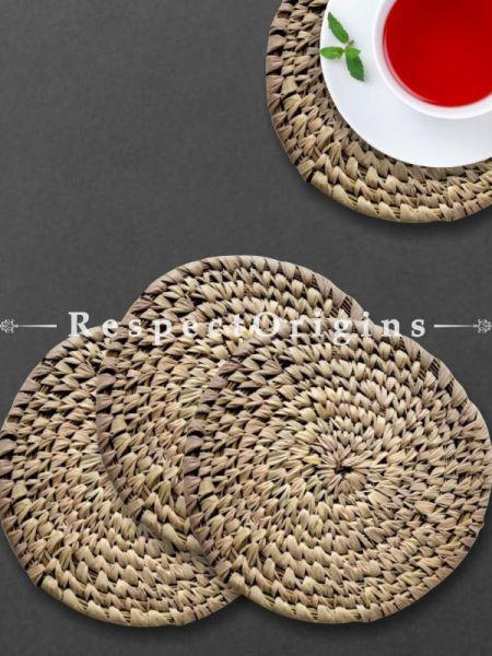 Handcrafted Set of 4 coasters; Natural; Sabai Grass; RespectOrigins.com
