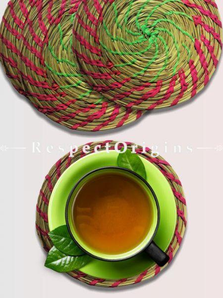 Handcrafted set of 4 Sabai grass Coasters; Ecofriendly; RespectOrigins.com