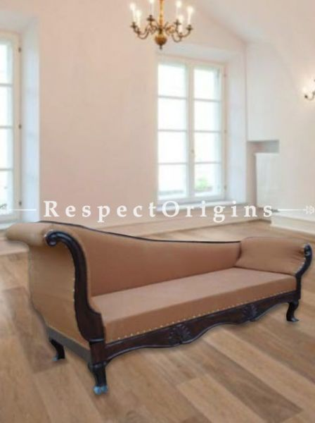 Buy Arianna Handcrafted Upholstered Sofa Recliner; Engraved Wood; Cream color cushions At RespectOrigins.com