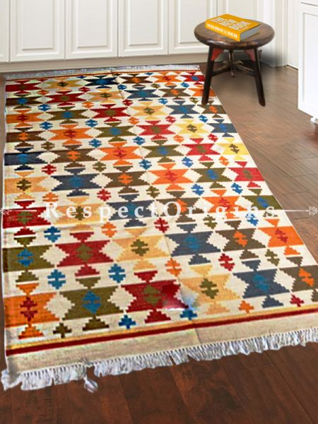 Multi-Colored Hand-knitted Carpets ; 5*8 Ft; RespectOrigins.com