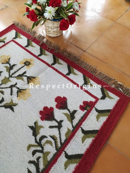 White with Brown Designer Handknotted Wool Rug ; 5*3 Ft; RespectOrigins.com