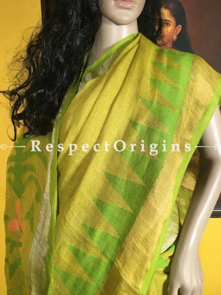 Handloom; Cotton; Green; Saree, RespectOrigins.com