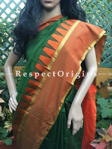 Handloom; Green; Cotton Silk, RespectOrigins.com