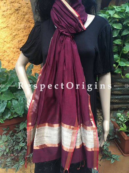 Handloom Magenta Maheshwari Cotton silk stole with golden Jute work and red border; RespectOrigins