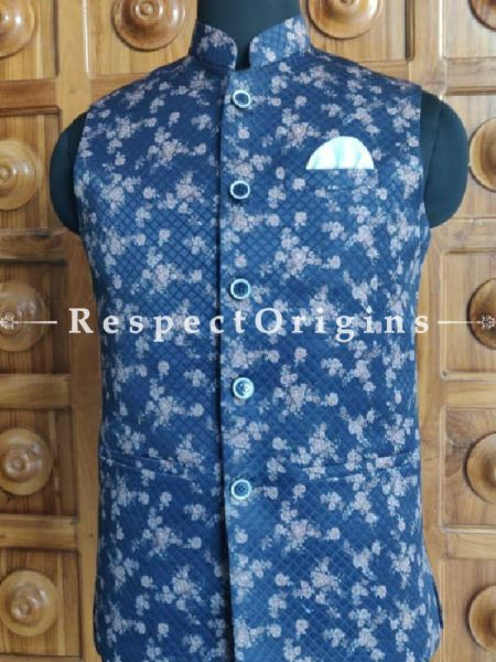Handloom Sleeveless Modi Nehru Jute Cotton Jackets in Dark Blue, Available in 36,38,40,42 size; RespectOrigins.com