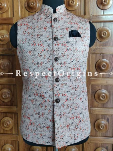 Handloom Sleeveless Modi Nehru Jute Cotton Jackets in Cream, Available in 36,38,40,42 size; RespectOrigins.com