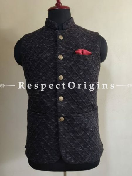 Handloom Blue Sleeveless Modi Nehru Jackets, Available in 36,38,40,42 sizes; RespectOrigins.com