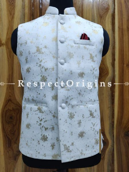 Handloom Sleeveless Modi Nehru Jackets in White, Available in 36,38,40,42 sizes; RespectOrigins.com