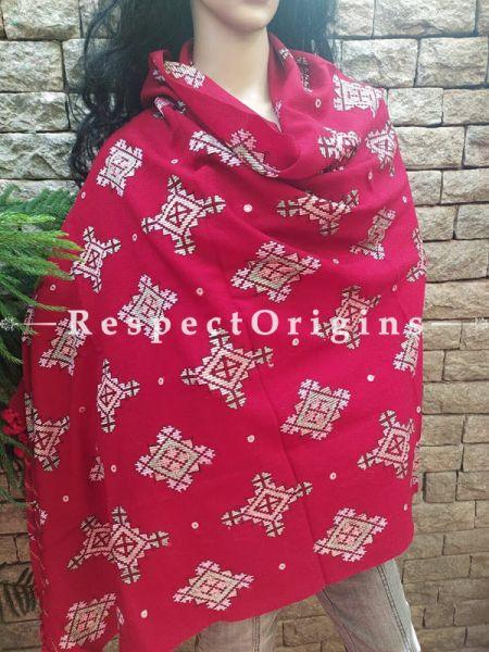 Handloom Woollen Soof Embroidered Shawl; Cherry Red Online at RespectOrigins.com