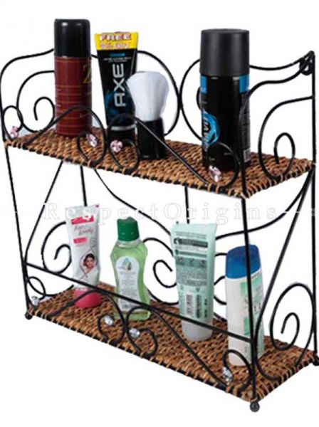 Buy Ecofriendly Handmade Rattan Cane Bathroom Shelves With Two Layers And Wrought Iron Work|RespectOrigins